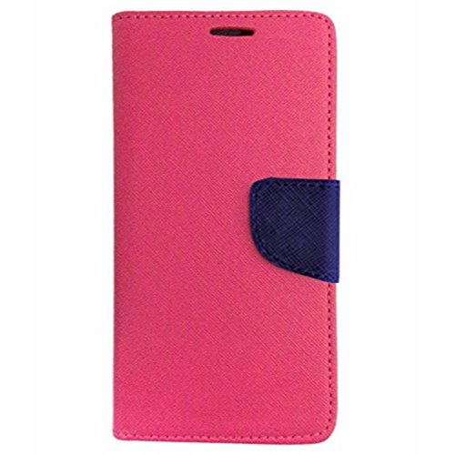 Avzax Luxury Magnetic Lock Diary Wallet Style Flip Cover Case for Micromax Canvas Spark 3 Q385 - Pink