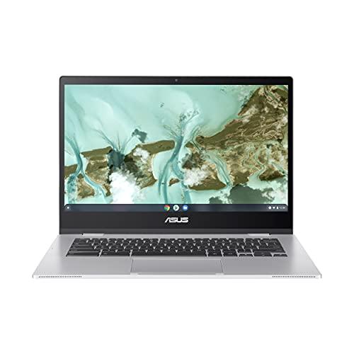 "ASUS Chromebook CX1, 14"" Full HD NanoEdge Display, Intel Celeron N3350 Processor, 64GB eMMC Storage, 4GB RAM, Spill-Resistant Keyboard, Chrome OS, Transparent Silver, CX1400CNA-AS44F"