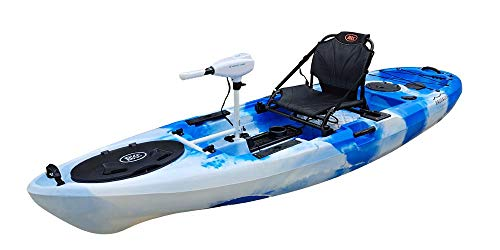 BKC PK11 Angler 10.5-Foot Sit On Top Solo Fishing Kayak w/Trolling Motor, Paddle, and Upright Aluminum Seat (Blue Camo)