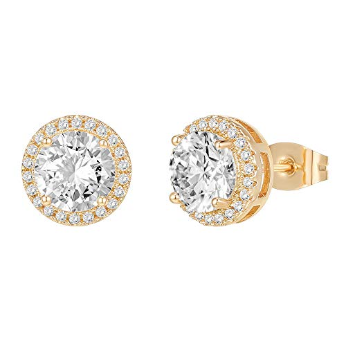 PAVOI 14K Gold Plated Sterling Silver Post Brilliant Round Faux Diamond Halo Earrings - Premium Cubic Zirconia in Yellow Gold