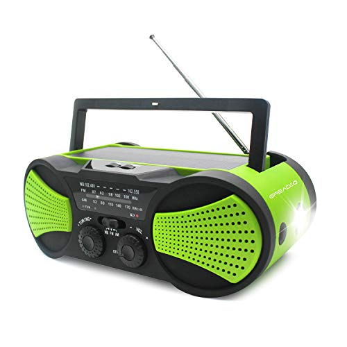 Emergency Weather Crank Solar Radio with Audio Input,...
