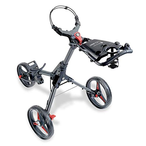 Motocaddy Cube 3 Wheel Golf Push Cart Lightweight Compact Two-Step Folding Golf Cart (Charcoal/Red)