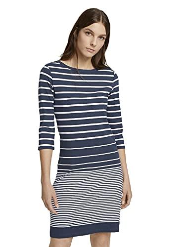 TOM TAILOR Damen Jersey Kleid, Blau (28235 - Blue Gradient Stripe), 42