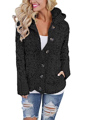 Happy Sailed Damen Langarm Strickjacke Cardigan Strickcardigan Hoodie Jacke mit Kapuze ,Grau,M