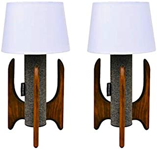 Lewis Interiors - Modern Cylinder Table Lamp - Pair of Two Lamps - Spaceage Atomic Midcentury Modern Handcrafted - Made in America - Gray Tweed and Wood