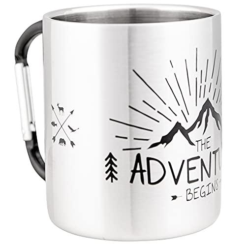 Mugsy I Edelstahltasse, Bruchfest, Camping Tasse, Silber / Grau | 280 ml (The Adventure Begins)