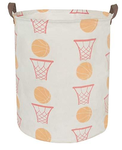 BOOHIT Cotton Fabric Storage Bin,Collapsible Laundry Basket-Waterproof Large Storage baskets,Toy Organizer,Home Decor (basketball)
