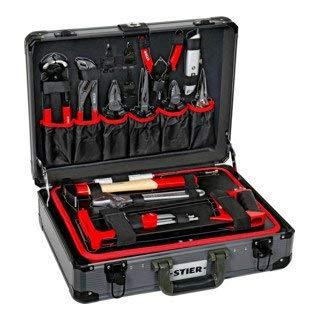 STIER Universal-Werkzeugsortiment im Aluminiumkoffer 144-teilig, Werkzeugkoffer bestückt gefüllt, Werkzeug Set