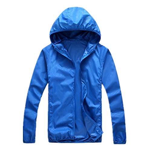 N\P Ropa con capucha para hombre, chaqueta de primavera y otoño, cortavientos, con cremallera azul M