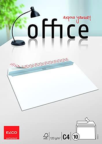 Elco 74476.12 Office Verpackung mit 10 Briefumschläge/Versandtasche, Haftklebeverschluss , C4, 120g, weiss, Fenster: nein