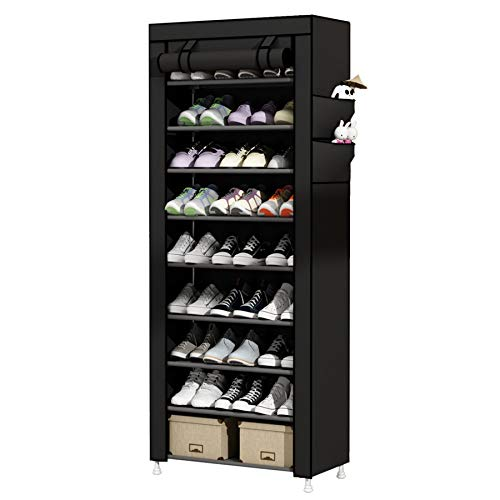 UDEAR 9 Tier Shoe Rack with Dustproof Cover Shoe Shelf Storage Organizer Black