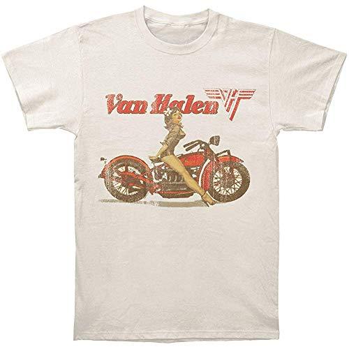 Van Halen Biker Pinup Beige Mens T-Shirt-XL
