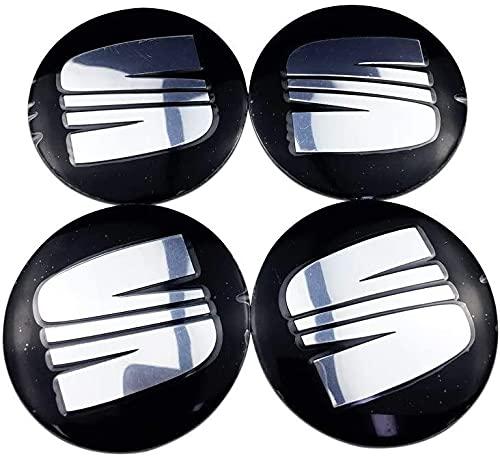 YILONGNB 56mm Dedicado 4 Piezas Seat Cubierta Central de Rueda de Coche Pegatina Decorativa antioxidante, Cubierta Central de neumático con Logotipo