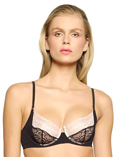 Felina Unveiled Venus & Adonis Unlined Sling Bra | Imported Lace from Italy (Black, 32D)