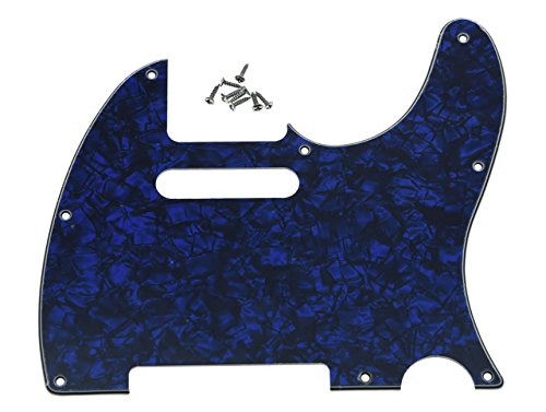 KAISH 8 Hole Tele Guitar Pickguard Scratch Plate fits USA/Mexican Fender Telecaster Blue Pearl