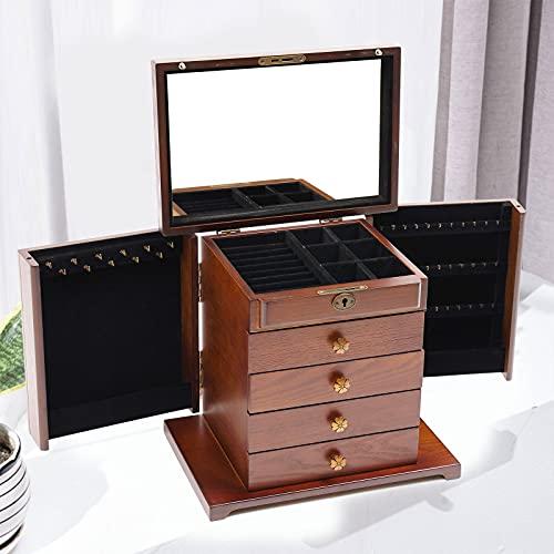 5 capas + 2 armarios plegables, gran caja de almacenamiento de madera para joyas, organizador con espejo y cerradura para anillos, collares y relojes (marrón tallado de flores en la parte superior).