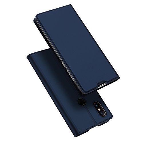 Funda® Ultra Delgado PU TPU Flip Folio Ranura y la Función Stand para Tarjeta para Xiaomi Mi Mix 2S(Azul Oscuro)