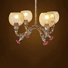 OUUED 4-Lights Industrial Vintage Rustic Steampunk Chandeliers Metal Iron Waterpipe Retro Ceiling Pendant E27 Edison Antique Lamp Restaurant Bar Cafe Chandelier #1