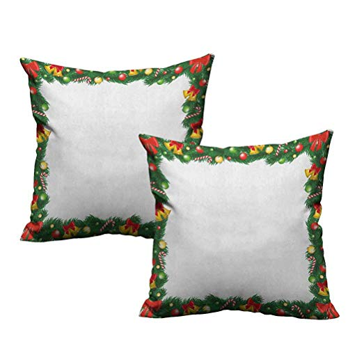 Dasnh Two Piece Great Couch Pillows Xmas Themed Garland with Candy Canes Ribbons Colorful Baubles and Bells Winter 22'x22',Suitable for Sofa,Bed,Home,Office