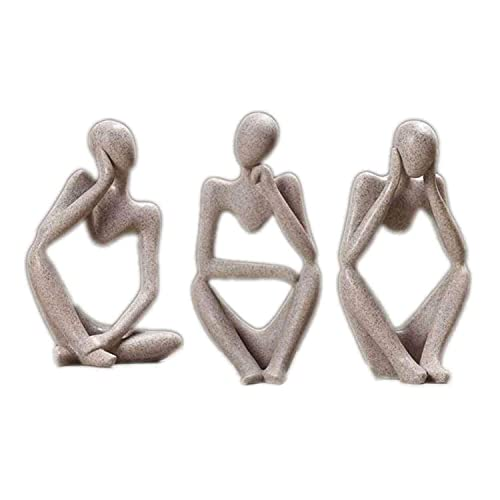 AMYZ The Thinker Statue Resina Escultura Figuras coleccionables para la decoración del hogar Moderno Hogar Oficina Escritorio Estantería Estantería Juego de decoración,Gris