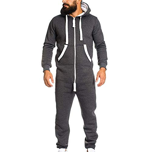 YOCheerful Men's Jumpsuit Playsuit Sportswear One Zip Onesie Hoodie Solid Sports Jumpsuit Playsuit Romper (Dark Gray,US-L/Label-XL)