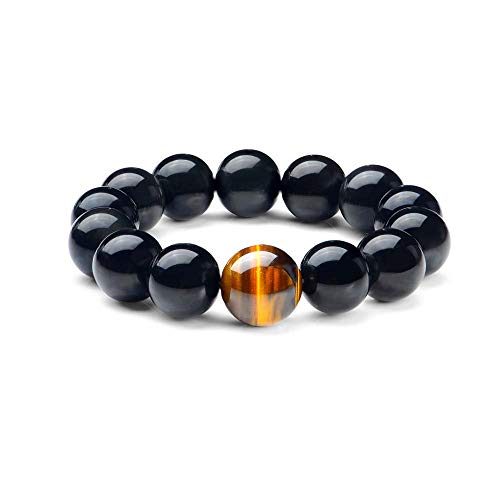 SX Commerce Natural Obsidian Bracelet Black Natural 10MM or 12MM Stone with a Unique Tiger Eye Good Gift for Men and Women(10MM)