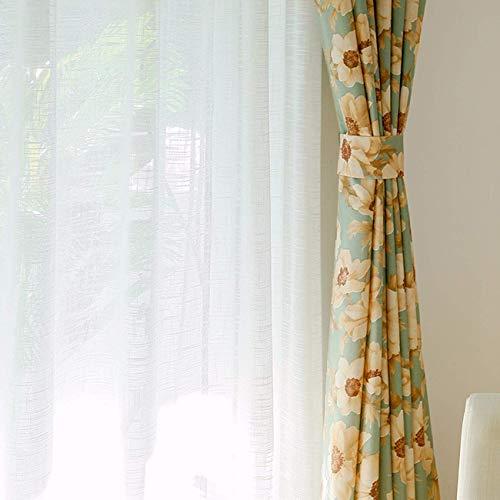 FCXBQ Vorhang Einfache amerikanische Vorhänge, Pastorale Landdrucke, halbschattige Baumwolle und Leinen, Wohnzimmer im Schlafzimmer, Fenster, Fliegengitter, Vorhänge, 150 x 270 cm (B x H) x 2, B