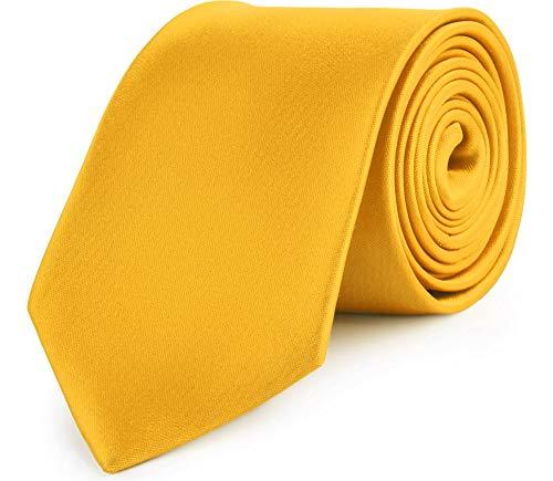Ladeheid Corbatas Anchas Diversidad de Colores Accesorios Ropa Hombre KP-8(Amarillo Oscuro, 150cm x 8cm)