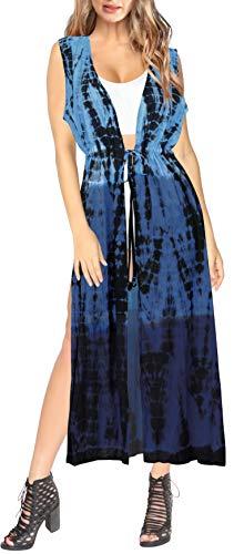 LA LEELA Mujer Algodón Largo teñido Anudado Kimono Chaqueta de Punto para Camisa Playa Capa Bikini Cubren Punta Kimono Halloween Negro_Y256