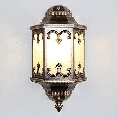 Zhangl La moitié de Mur extérieur rétro Lanterne Vintage Jardin lumière LED Filament Ampoule Mur extérieur Lumière Applique avec E27 (Couleur: Bronze) (Color : Bronze)