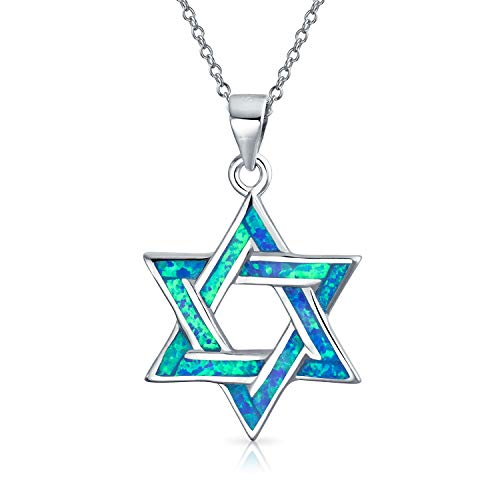 Hanukkah Magen Judaic Jewish Blue Created Opal Inlay Star Of David Pendant Necklace For Bat Mitzvah For Women Teens 925 Sterling Silver