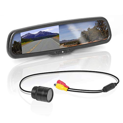 BOSS Audio Systems BV430RVM Rearview Car Mirror with 4.3 Inch Built in High Resolution Digital Monitor - Includes Weatherproof Rearview Backup Camera and Brackets Audio car Electronics Features In-Mirror Video