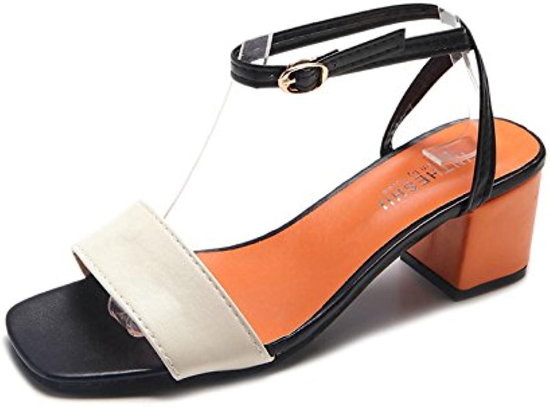 LHJY High Heel Sandals New Summer Fish Mouths Buckles Thick Sandals Women's High Heels Rome Sandals