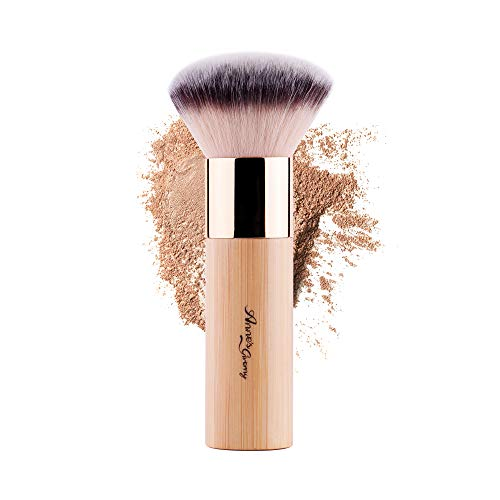ANNE'S GIVERNY Makeup Foundation Sponge Brush Bronzer Loose Powder Blush Finish Airbrush Buffer Contour Kabuki Blender (Bamboo)