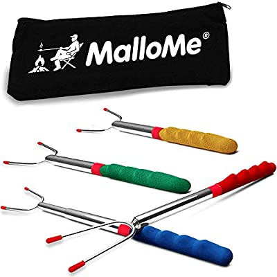 MalloMe Premium Marshmallow 45-inch Roasting Sticks Set - Smores Skewers & Hot Dog Fork | Extending Patio Fire Pit Camping Cookware Campfire