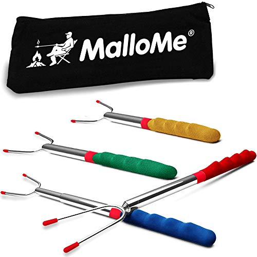 MalloMe Premium Marshmallow 45-inch Roasting Sticks Set of 4 Smores Skewers & Hot Dog Fork   Extending Patio Fire Pit Camping Cookware Campfire