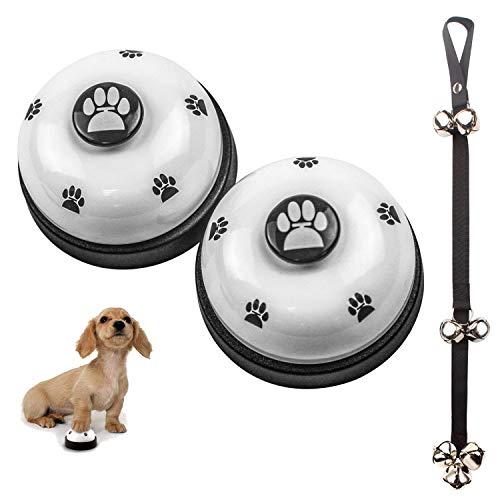 VIKEDI 2 Stück Trainingsglocken für Haustiere und 1 Stück Hunde Hund Türklingeln Ausbildung Töpfchen Glocken, Hund Türklingel für Puppy Katze Toilet Töpfchen Trainings und Kommunikationsgerät (Weiß)