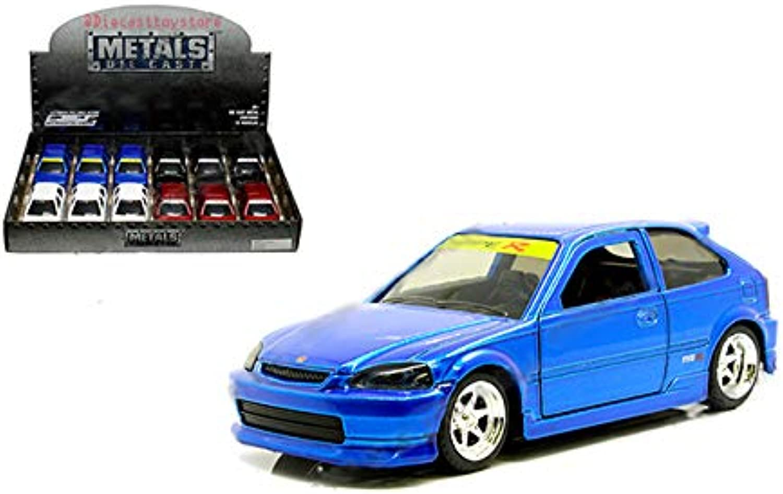 Jada New DIECAST Toys CAR 1 32 DISPLAY WITHOUT WINDOW BOX  Metals  JDM Tuners  1997 Honda Civic EK TypeR Set of 4 30973DP1