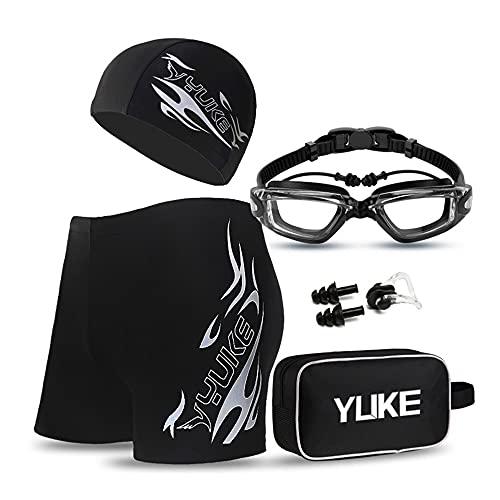 ALUNYAN equipo de natación:traje de baño de secado rápido,gafas de natación HD,gorro de natación,tapones para los oídos,clip para la nariz y bolsa de natación impermeable de gran capacidad(XX-L)