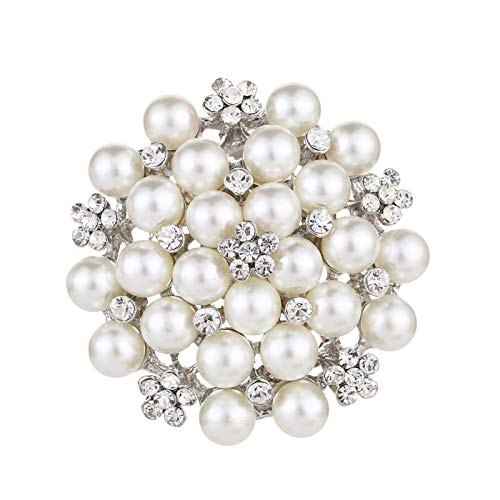 Carl Hamilton Elegant Pearl Flower Brooch Pins Crystal Pearl Pins and Brooches for Women Wedding Bridal Party Dress Jewelry-Silver-