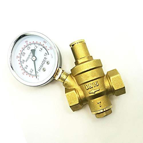"""HGFHGD 3/4""""BSP Innengewinde Messing Druckbegrenzungsregler Reduzierventil mit Manometer für Wasser"""