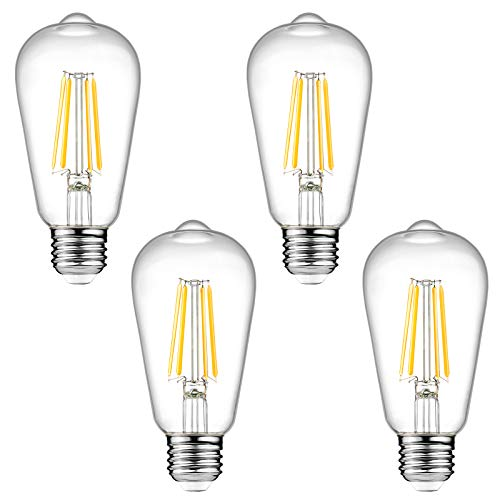 Dimmable Ascher Vintage LED Edison Bulbs, 6W, Equivalent 60W, 700 Lumens, Warm White 2700K, ST58 Antique LED Filament Bulbs, E26 Medium Base, Clear Glass, Pack of 4