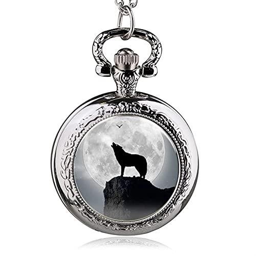 OYZY Reloj de Bolsillo del Collar de Lobo, Plata Lobo Medio Reloj de Bolsillo de Cuarzo Collar Colgante para el cumpleaños de Las Mujeres día del Padre (Color : C)