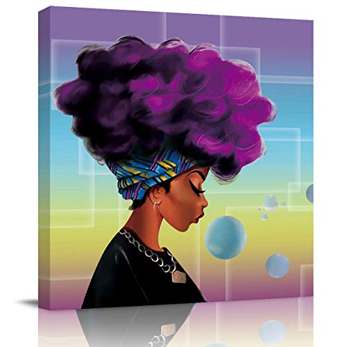Sailground Canvas Wall Art Abstract Traditional African Black Women with Purple Hair Afro Hairstyle