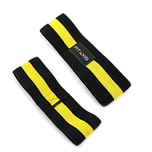 FITAXIS Banda Hip elástica de Resistencia para la Cadera glúteo Cadera botín elástico Fitness Yoga activación Antideslizante Entrenamiento reparación de lesione Suave (Black-Yellow, L-32')