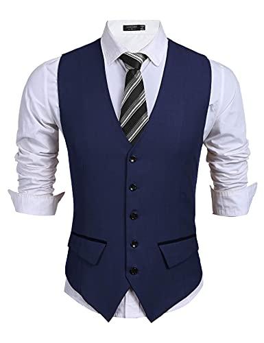 COOFANDY Herren Business Anzug Weste Slim Fit Kleid Weste Hochzeitsweste,Blau,L