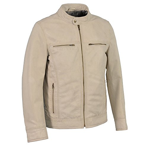 Milwaukee Leather SFM1865 Men's Linen Cafe Racer Leather Jacket with Front Zipper Closure - Large