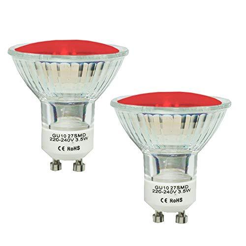 2 Stück JQslight GU10 LED Lampe Farbe Rot 4W GU10 LED Leuchtmittel für Strahler Birnen Einbauleuchte Deckenlampe Ambient Stimmung Deko Festliche Beleuchtung