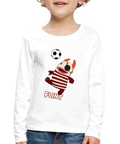 Sorgenfresser Flint Pirat Spielt Fußball Kinder Premium Langarmshirt, 134-140, Weiß