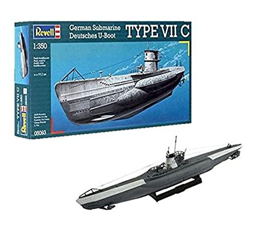 Revell- German Type VII C Maqueta Submarino, 10+ Años, 19,2cm de Largo (05093)